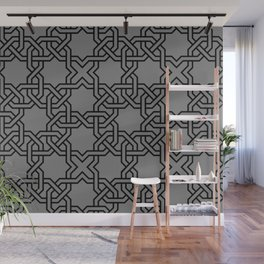 Entwined graphic Lines Home Design - grey Wall Mural