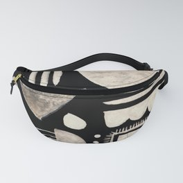 Hand Painted 'Alien Language' Doodle Pattern White on Black Fanny Pack