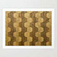Wooden Zig Zag Optical Cubes Art Print