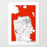 san francisco map Art Prints featuring District San Francisco Map by Studio Tesouro