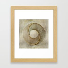 Geometrical Line Art Circle Distressed Gold Framed Art Print