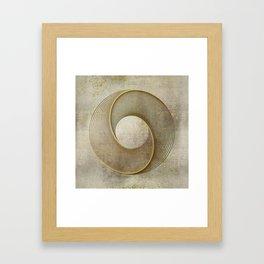Geometrical Line Art Circle Distressed Gold Framed Art Print