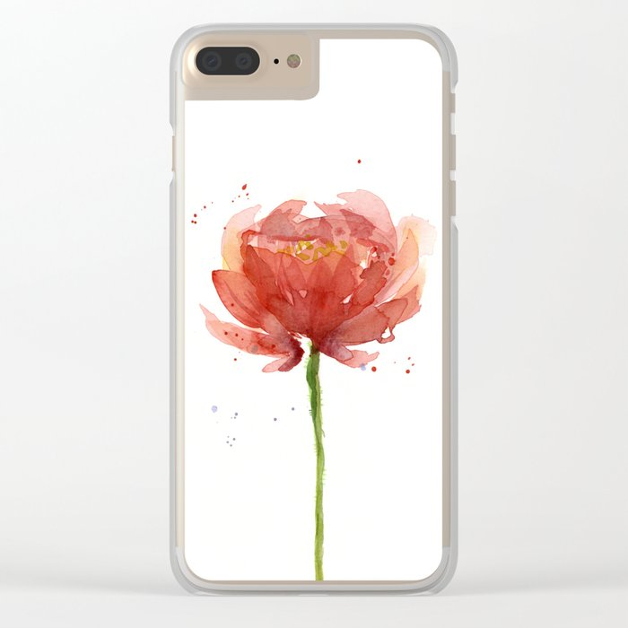 Red Flower Watercolor Floral Painting Clear iPhone Case