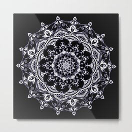 Lucid Dream Glowing mandala with a hint of purple on black. Metal Print
