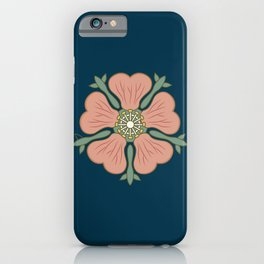 Beautiful hibiscus flower illustration, top view. iPhone Case