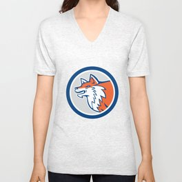 Red Fox Head Pouncing Circle Retro Unisex V-Neck