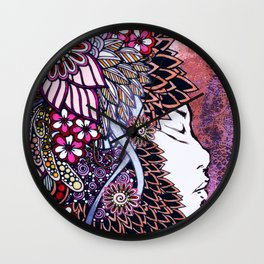 Mother Nature Pink Purple Orange Wall Clock