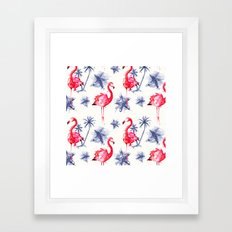 Beach Flamingos Framed Art Print
