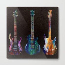 Sounds of music. Five colorful guitars. Metal Print
