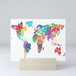 Typography Text Map of the World Mini Art Print