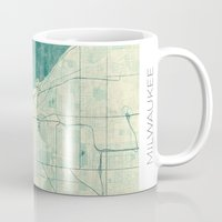 milwaukee Mugs featuring Milwaukee Map Blue Vintage by City Art Posters