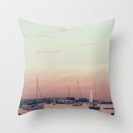 Sailing on the Boston Harbor Throw Pillow