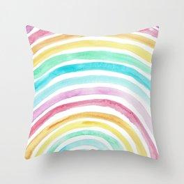 Pastel Watercolour Rainbow art Throw Pillow