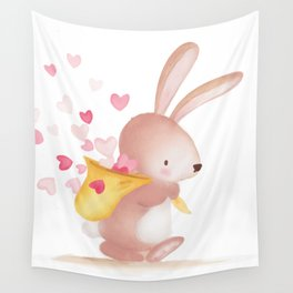 Woodland Critters - Bunny with Sack of Hearts Wall Tapestry