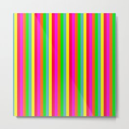 Mini Neon Hawaiian Rainbow Cabana Stripes Metal Print
