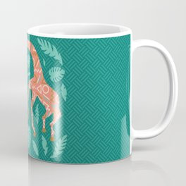 Pink Dancing Giraffes on Teal Green Coffee Mug