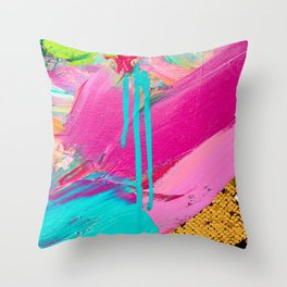 Abstract Acrylic brushstrokes and sequins Throw Pillow