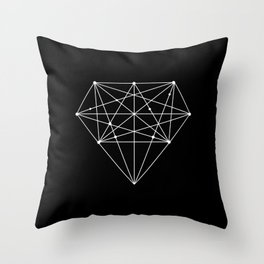 Geometric Black and White lowpoly Polygonal Diamond Shape Design Valentines Day Gift for Girlfriend Throw Pillow