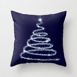 Elegant sparkling silver Christmas tree on a blue background Throw Pillow
