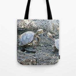 Baby giant tortoises acting tough Tote Bag