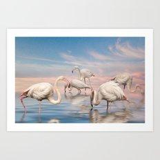 Flamingo Lagoon Art Print