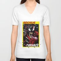 carnage V-neck T-shirts featuring Maximum Carnage by JHC Studio