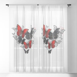 Realistic Black and Red Morpho Butterflies Sheer Curtain