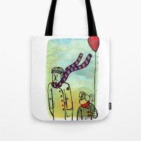 ballon Tote Bags featuring Scarf and ballon by GAiquel