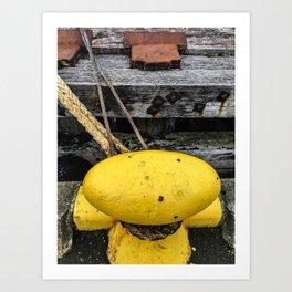 Mooring Rope And Yellow Bollard Art Print