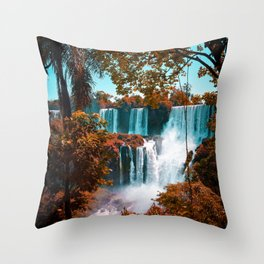 Paradise of Waterfalls (Color) Throw Pillow