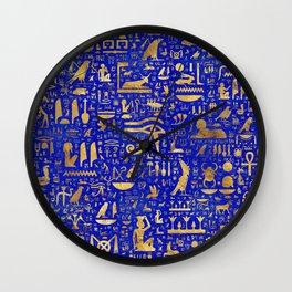 Ancient Egyptian hieroglyphs -Lapis Lazuli and Gold Wall Clock