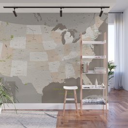 Map of US with national parks and protected lands Wall Mural