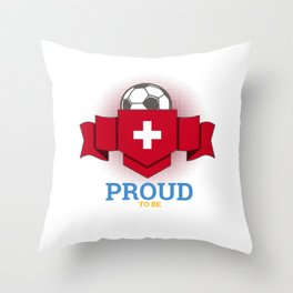 Football Swiss Switzerland Soccer Team Sports Footballer Goalie Rugby Gift Throw Pillow