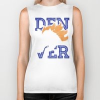 denver Biker Tanks featuring Denver Orange by d.bjorn