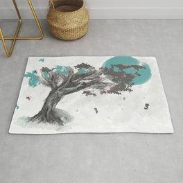 Turquoise Blossom Tree Rug