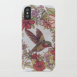 Hummingbird In Flowery Garden Wreath iPhone Case