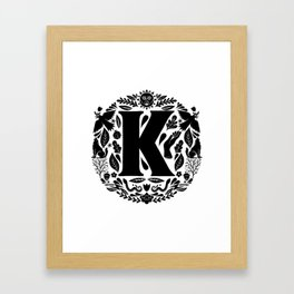 Letter K monogram wildwood Framed Art Print