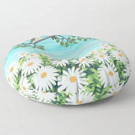 red bellied woodpeckers and daisies Floor Pillow