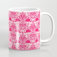 damask Mugs featuring Flamingo Damask by Jacqueline Maldonado