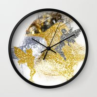 fairies Wall Clocks featuring Glitter Fairies by haroulita