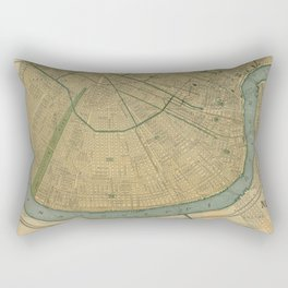 Vintage Map of New Orleans Louisiana (1893) Rectangular Pillow
