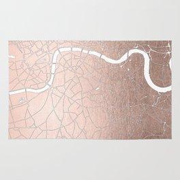 RoseGold on White London Street Map II Rug