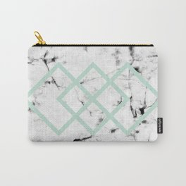 White Marble Concrete Look Mint Green Geometric Squares Carry-All Pouch