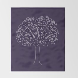 Purple Fruits of the Spirit Tree Throw Blanket
