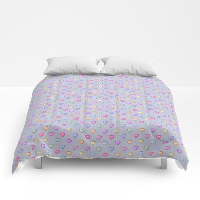 Crystal Hearts (Gray) Comforters