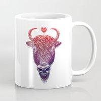 bison Mugs featuring bison by adi katz