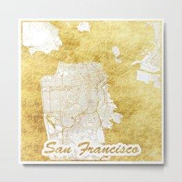 San Francisco Map Gold Metal Print