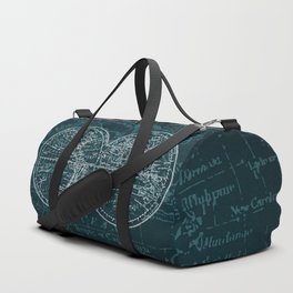 Antique Navigation World Map in Turquoise and White Duffle Bag