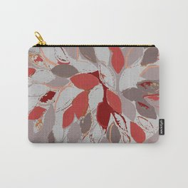 Tree, felted mixed media textile fiber art in gray and red Carry-All Pouch