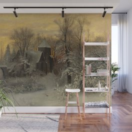 Church in Winter Scene Landscape by Sophis Jacobsen Wall Mural